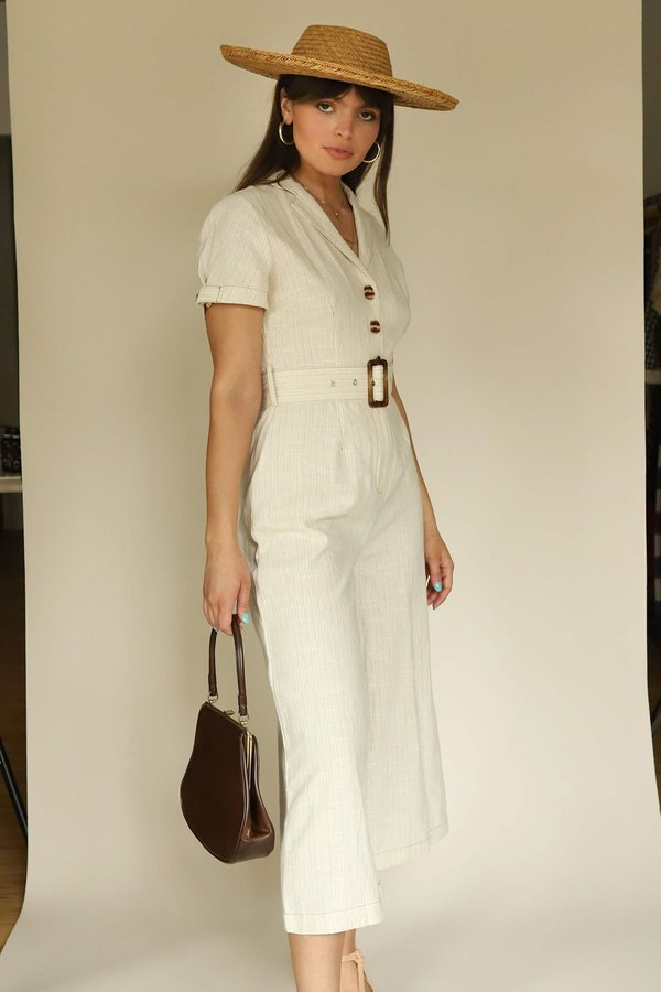 Moon River Ivory Collar Linen Jumpsuit