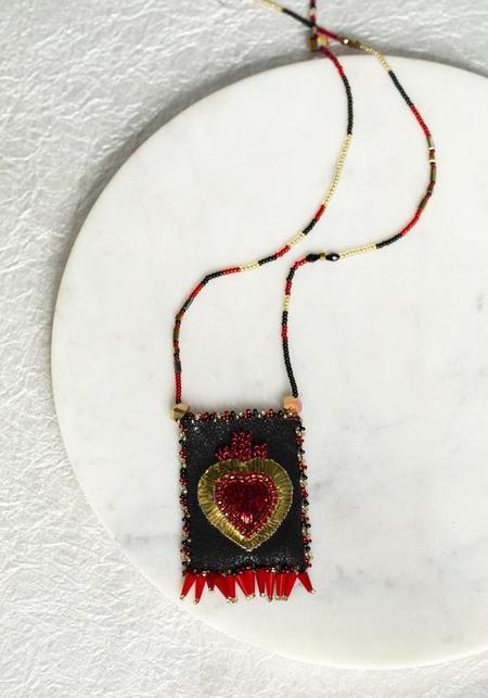 Olivia Dar Red Sacred Heart Talisman Pouch Necklace