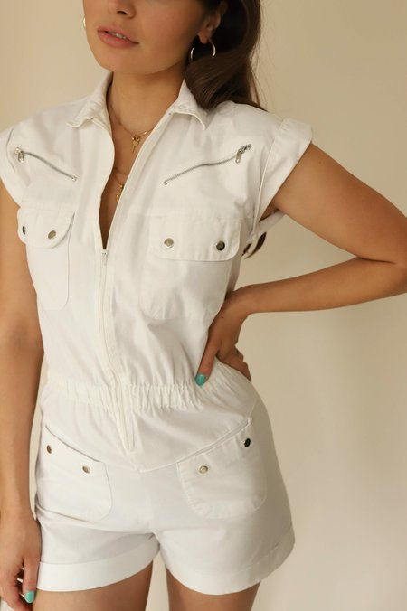 Vintage 1970's Utility Zip-Up Romper - White