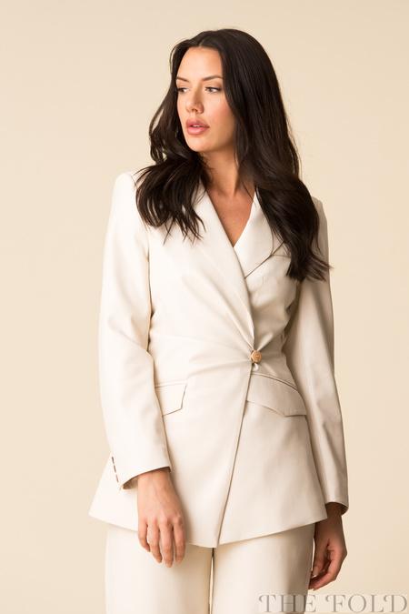 Nanushka Blair Vegan Leather Deconstructed Fitted Blazer - Off-White