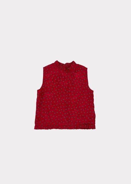 Caramel Clarence Top - Crimson Dot