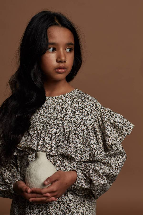 Kids Feather Drum LONG SLEEVE FRILL-NECK SMOCK - COCO DITSY