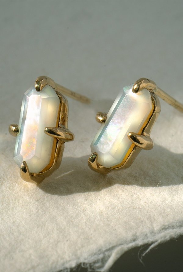 Laurie Fleming Emerald Studs - 14k Yellow Gold