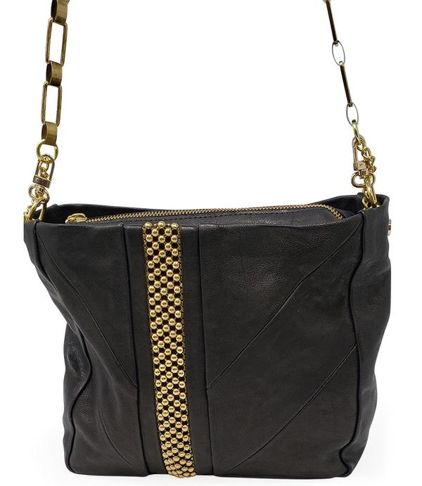 Laura B Alisa Shoulder Bag - Black/Gold