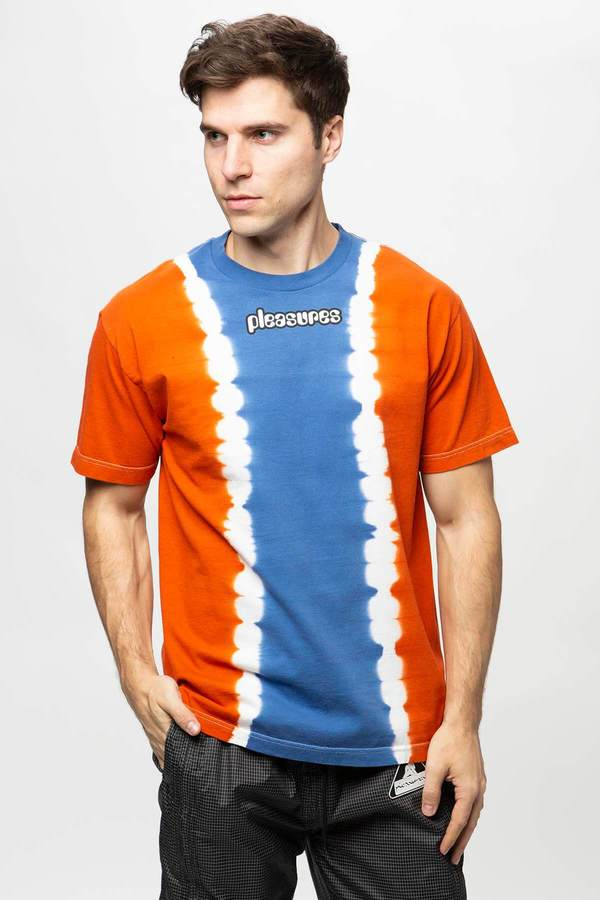 PLEASURES Gum Logo Split Dye T-Shirt - Orange/Blue