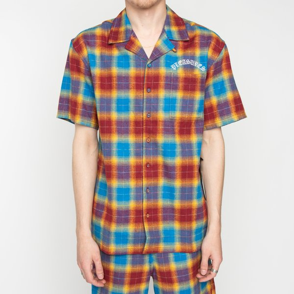 PLEASURES Shadow Plaid Camp Collar Button Up - Maroon