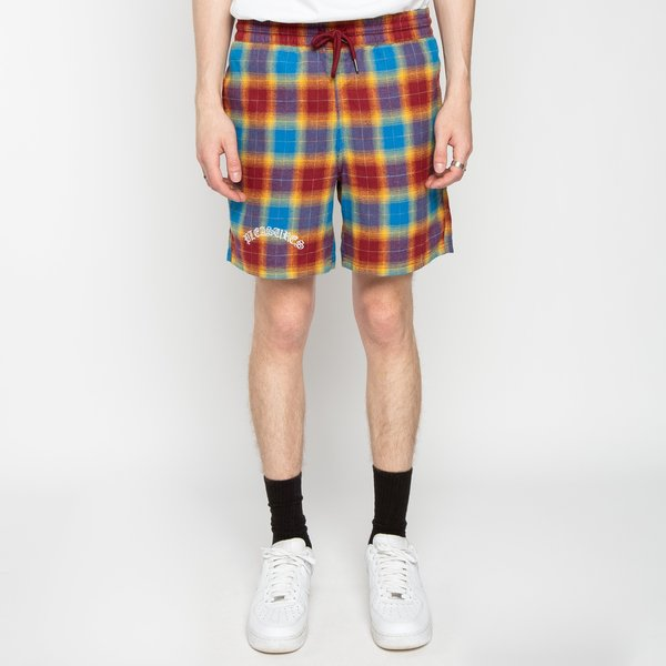 PLEASURES Shadow Plaid Shorts - Maroon
