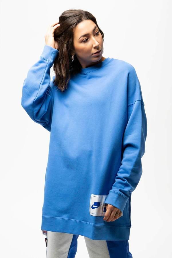 Nike Oversized Fleece Crewneck - Pacific Blue   White   Soar