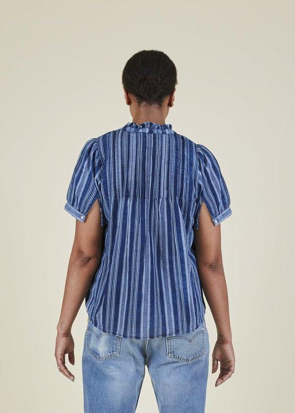 Summum Ruffle Top - Indigo Stripe