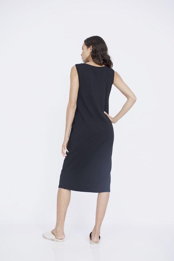 Corinne Collection Knit Pocket Dress - Black