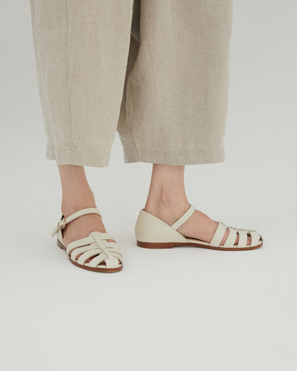 Monica Cordera Ivory Leather Sandals