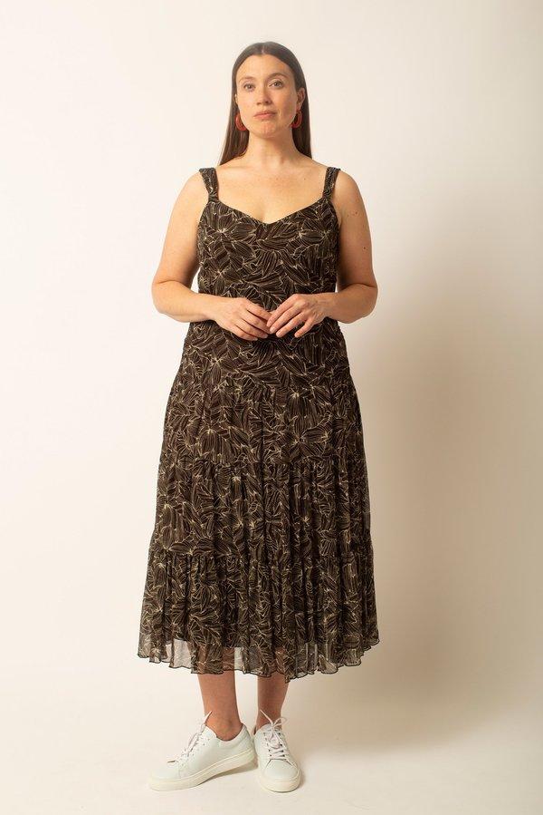 Preservation Vintage Floral Silk Dress - Brown