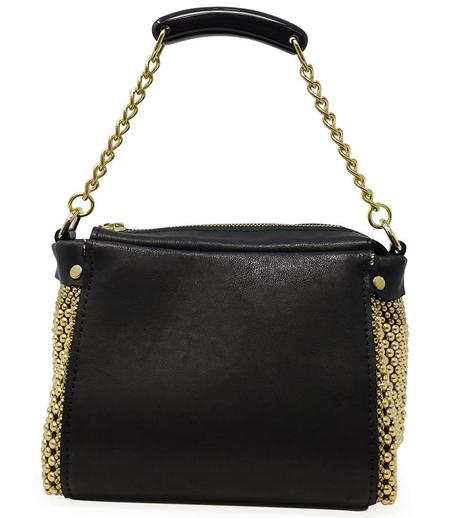 Laura B BAULETTO W/ LEATHER BLK HORN - BLACK/GOLD