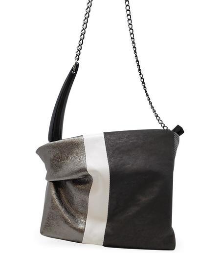 Laura B KIM STRIPPED PLEATED SHLD BAG - WHITE/BLACK/SILVER