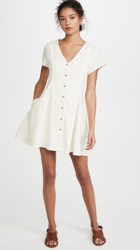 Rollas Milla Linen Dress - Vintage White