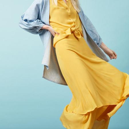 claudia nabholz silk skirt - yellow