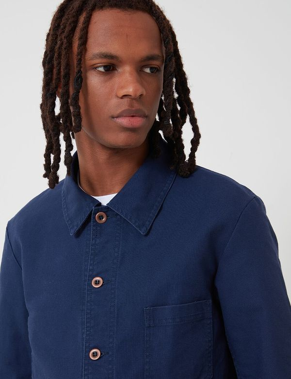 Vetra French Workwear Cotton Drill Jacket - Navy Blue