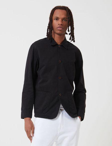 Portuguese Flannel Labura Workwear Cotton Jacket- Black