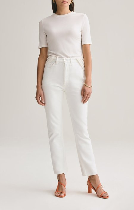 Agolde Riley Hi-Rise Straight Crop Jean - Tissue