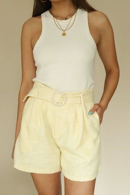 LUCY PARIS Tweed Belted Shorts - Yellow
