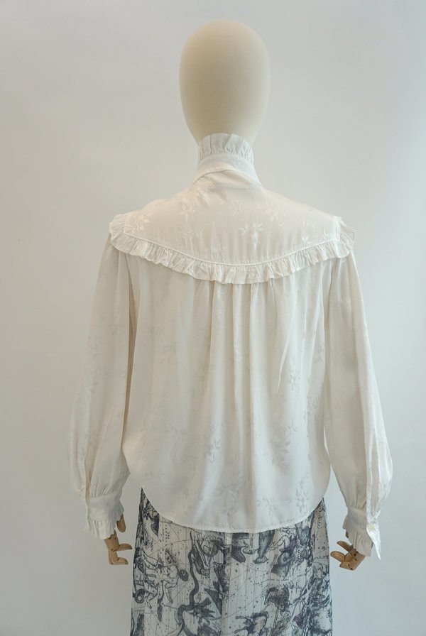 RAQUEL ALLEGRA Luna Ruffle Shirt - Washed White