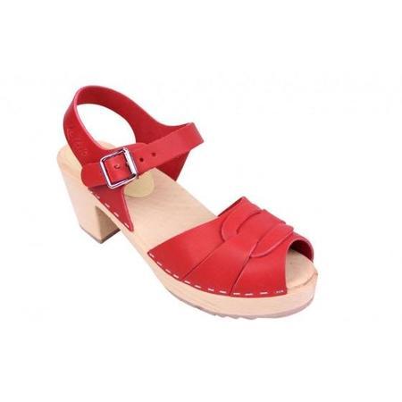 Lotta From Stockholm Greta Peep Toe Swedish Clog - Red