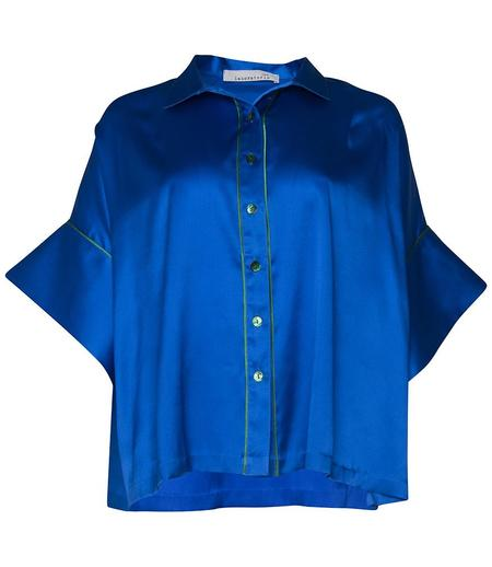 LABORATORIO CAPRI SILK WIDE OPEN SHIRT - ELECTRIC BLUE