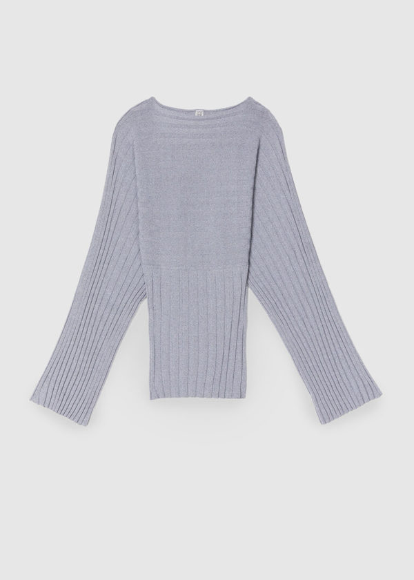 Totême RIB KNITTED TOP WITH LONG WIDE SLEEVES