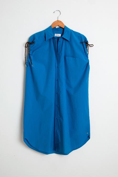 Otto d'Ame Turquoise Sleeveless Shirt Dress - Azurro