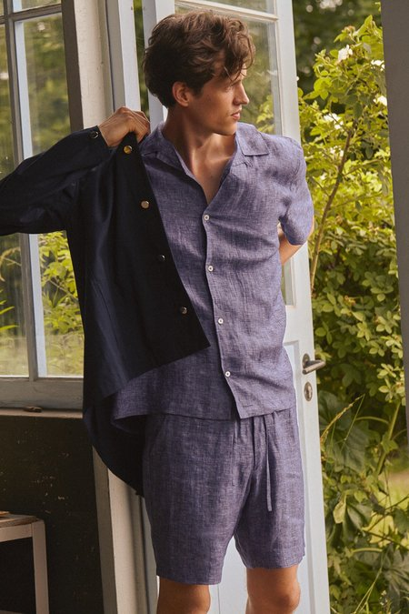 Frisur Jim shorts - melange navy linen