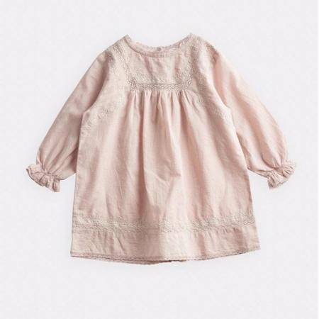 kids belle enfant lace & embroidery dress - beige