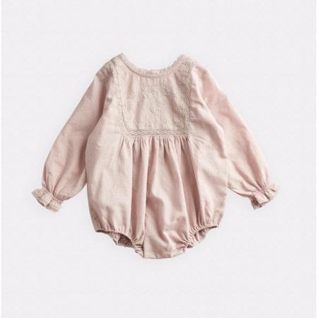 baby belle enfant lace & embroidery romper - beige