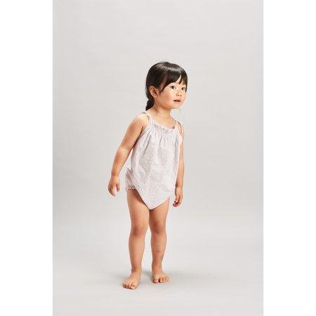 baby belle enfant ruffle baby romper - ditsy floral beige