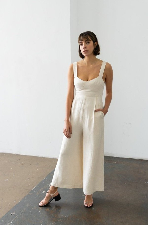 Waltz Bralette Jumpsuit in Dove