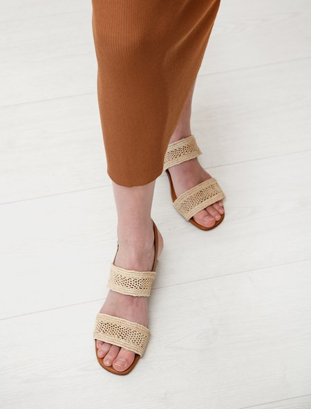 Robert Clergerie Leane Raffia Double Strap Sandal