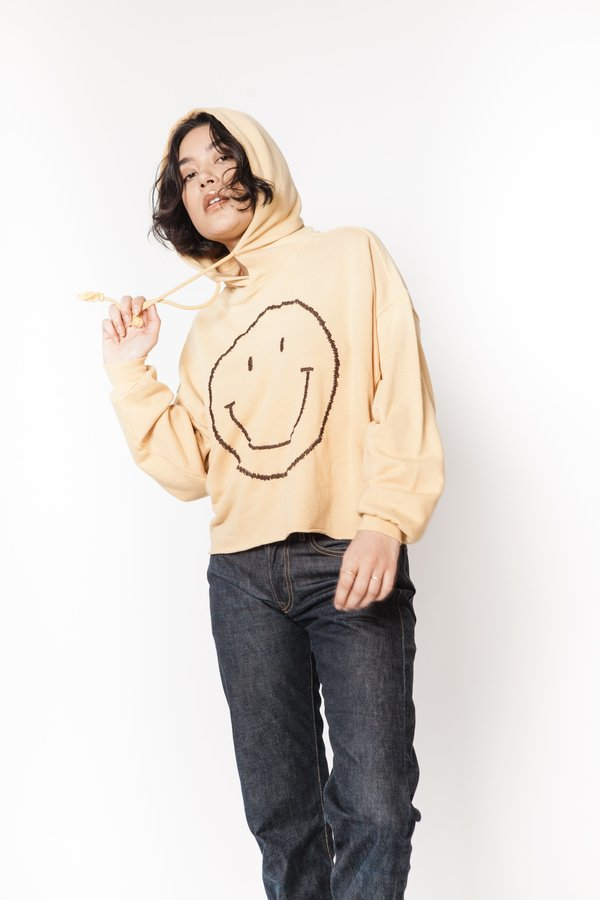 I Stole My Boyfriend's Shirt smiley face cropped hoodie Sweatshirt