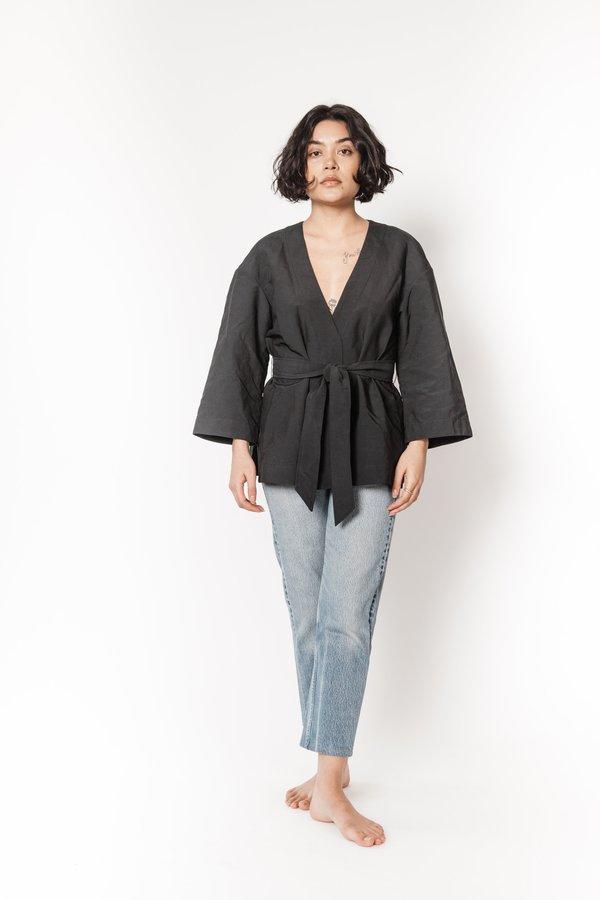 La Bete nylon kimono top - Black