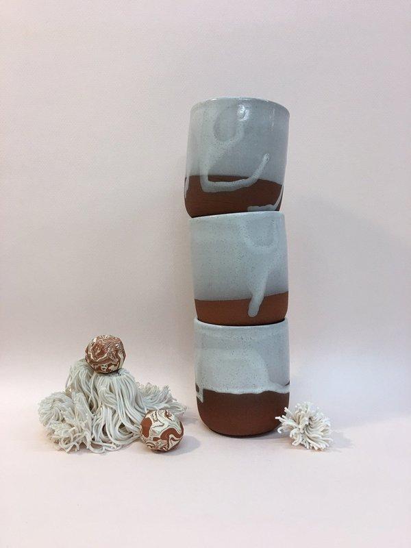 Meg Hubert white glaze tumbler - terra cotta