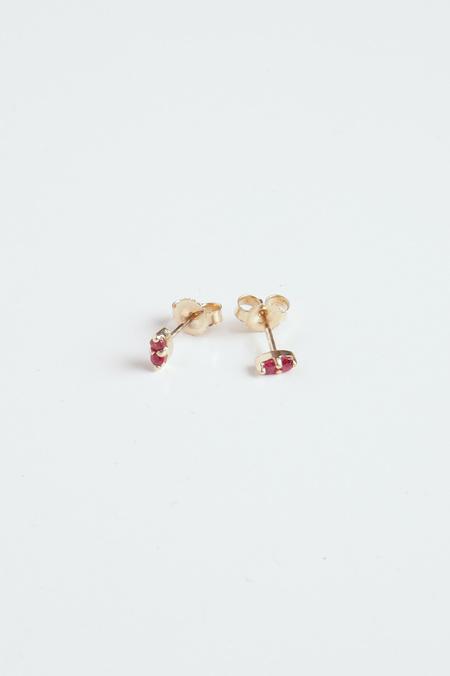 GJenmi Double Ruby Studs - 14K Gold