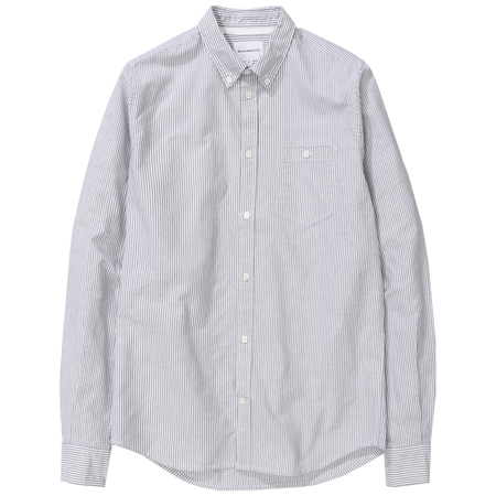 Norse Projects anton oxford Magnet - Grey Stripe