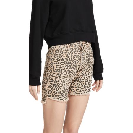 DL 1961 Hepburn Shorts High Rise Wide Leg Catwalk - Leopard