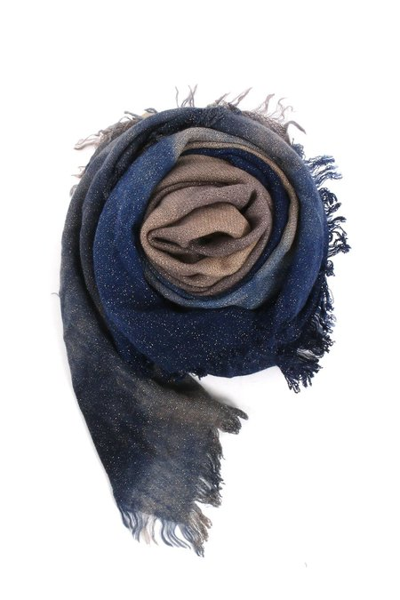Alonpi Cashmere Dijon Hand Painted Lurex Scarf - blue