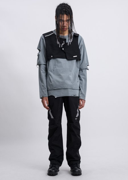 C2H4 Distressed Double Layer Long Sleeves - Grey