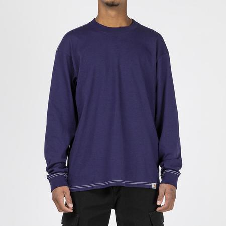 Carhartt WIP Nebraska Long Sleeve T-shirt - Royal Violet/White
