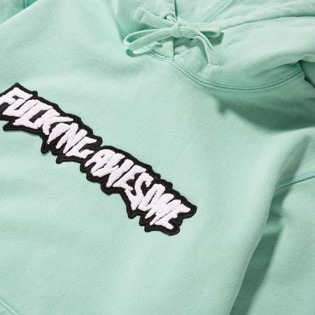 Fucking Awesome Garment Dyed Chenille Logo Pullover Hoodie - Seafoam