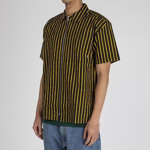 Fucking Awesome Overspray Stripe Shirt - Black / Yellow