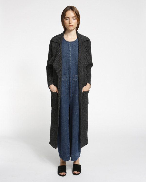 Achro Chunky Ribbed Sweater Coat in Charcoal