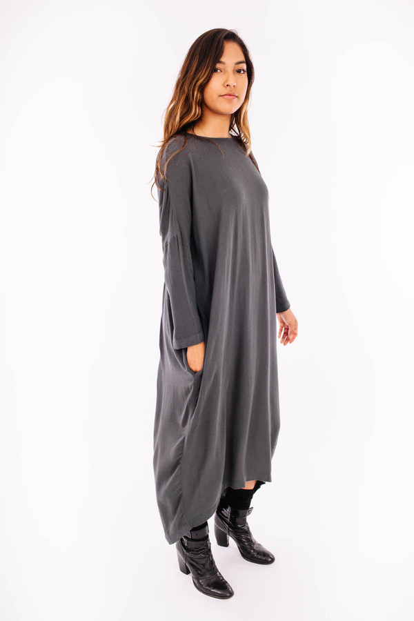 66658e1649 Black Crane Pleated Cocoon Dress (Dark Shadow)