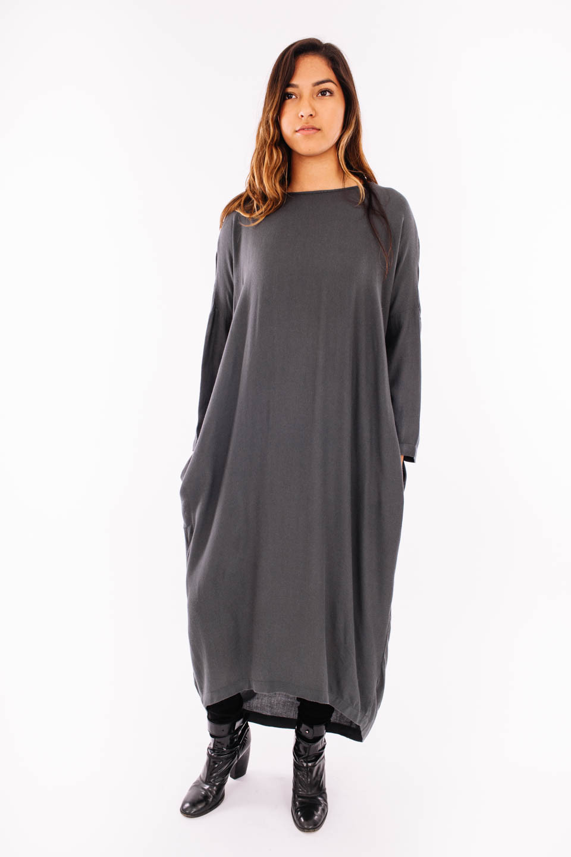 Black Crane Pleated Cocoon Dress Dark Shadow Garmentory