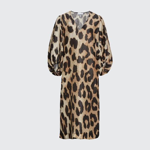Ganni Silk Linen Maxi Dress